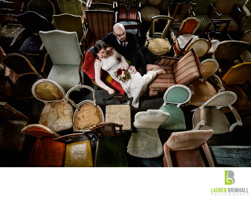 Bride and Groom on Antique Chairs