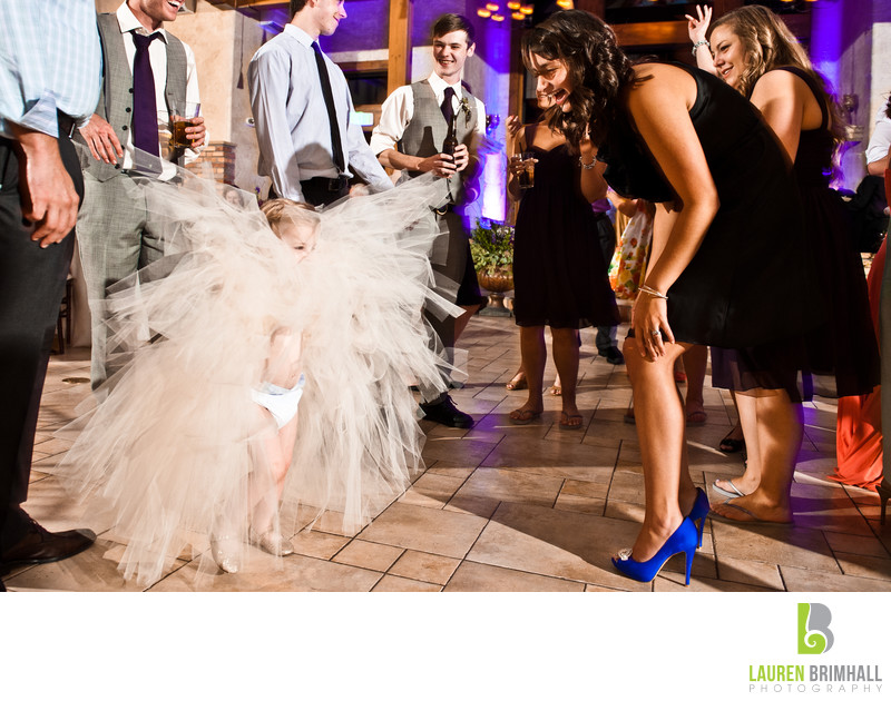 Huge Flower Girl Dress at Reception