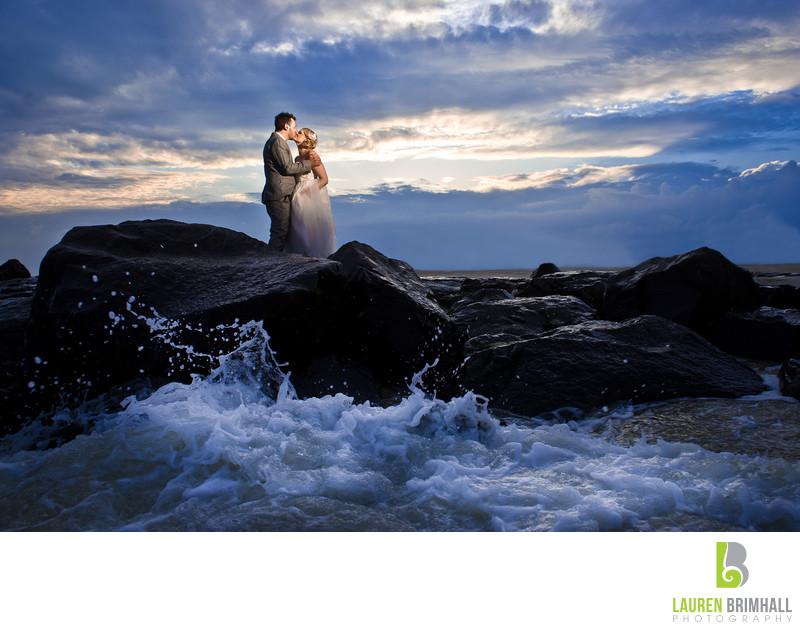 Cape May Beach wedding waves crash on rocks