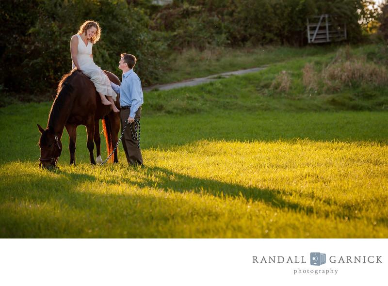 horse barn engagement couple