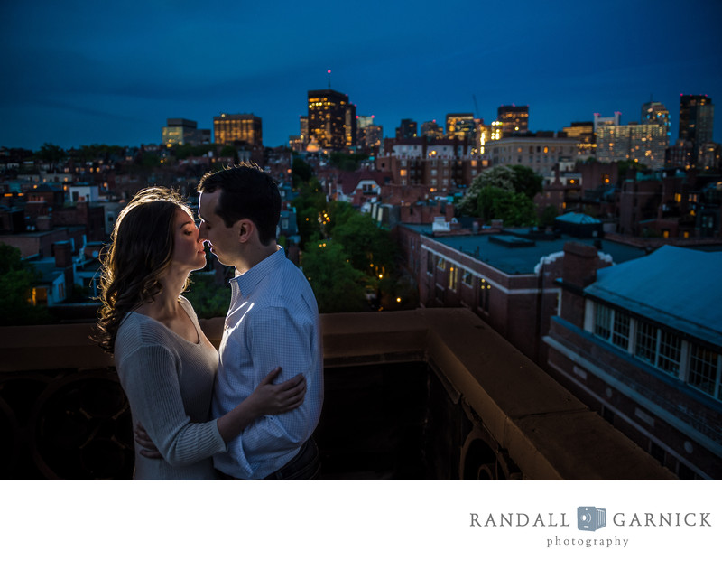 Boston rooftop engagement photos