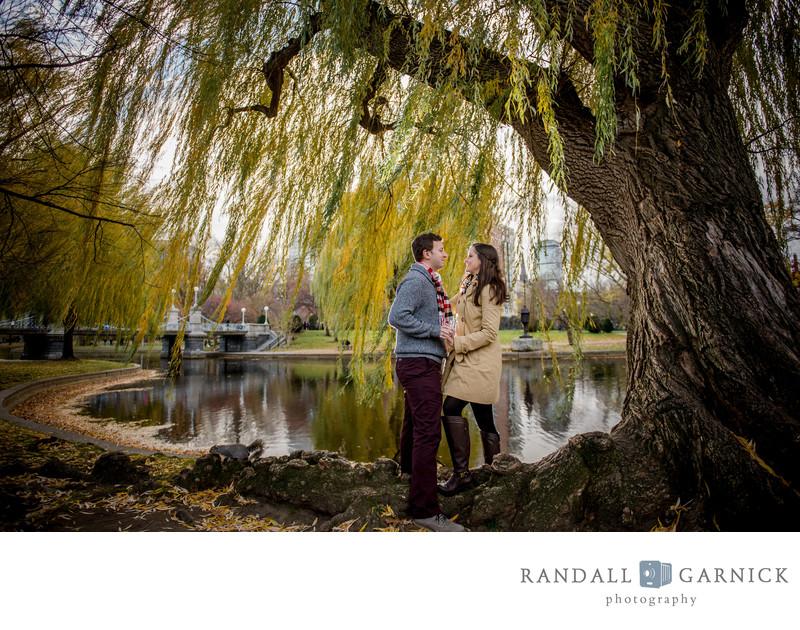 Boston Public Gardens engaged couple
