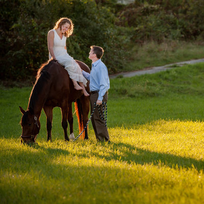 horse barn engagement couple