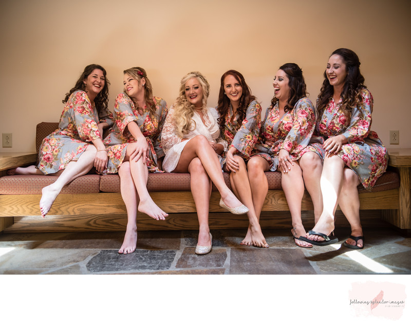 Bridemaids and Floral Robes Getting Ready Photos