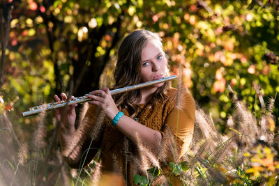 Senior Girl Playing Flute