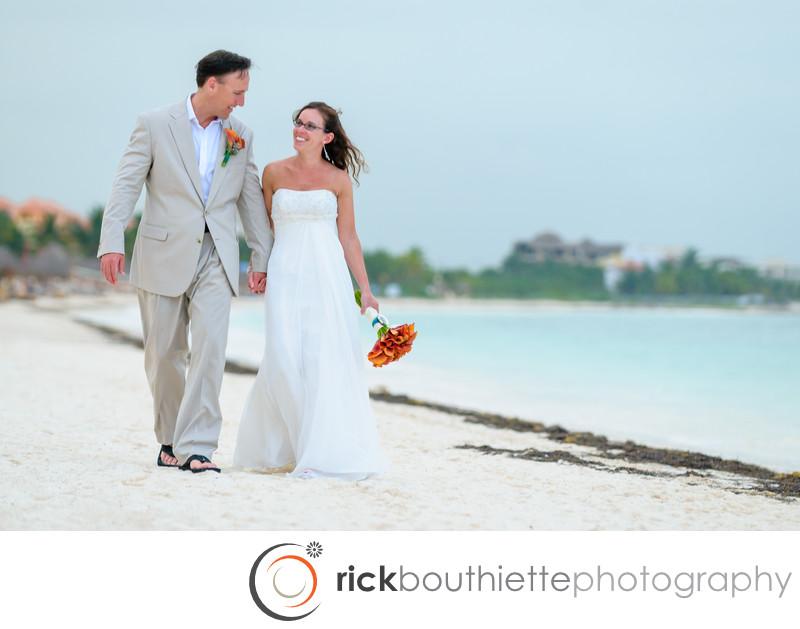 WALKING THE BEACH - CANCUN DESTINATION WEDDING