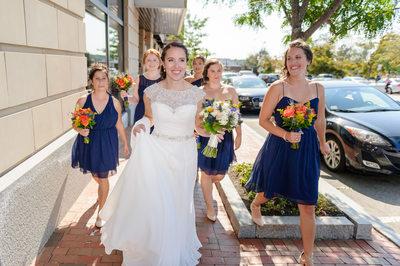 BRIDE & BRIDESMAIDS WALK TO PORTSMOUTH WEDDING