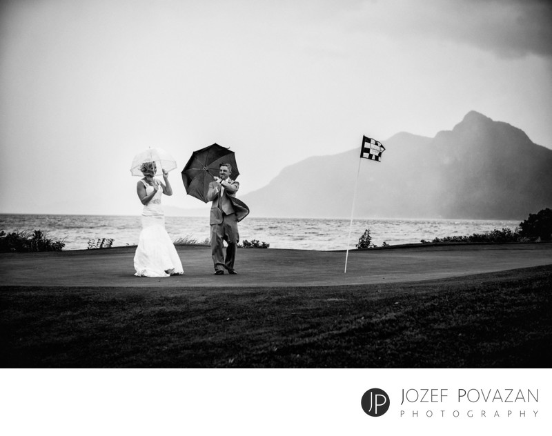 Cool and crazy Furry creek Country club wedding in rain