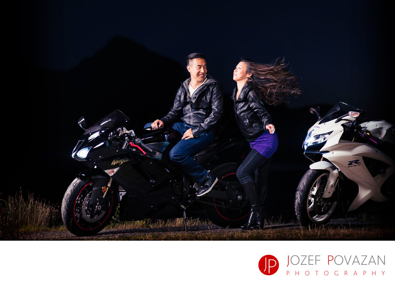 Road motorbikes Sea To Sky cool engagement portraits