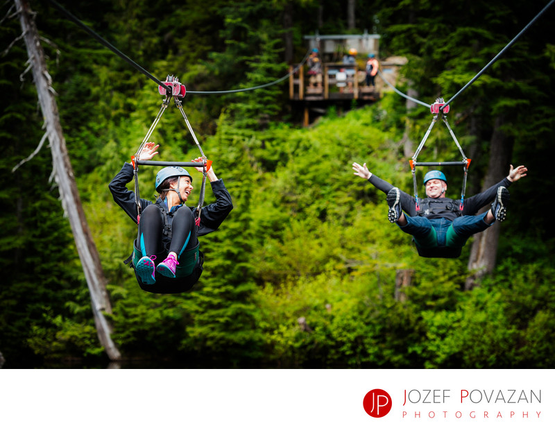 Grouse Mountain Zip line engagement fun cool pictures