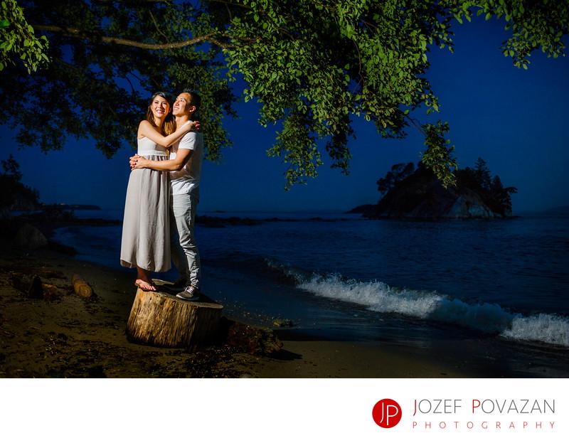 White Cliff Beach Dusk Romantic fun Engagement pictures