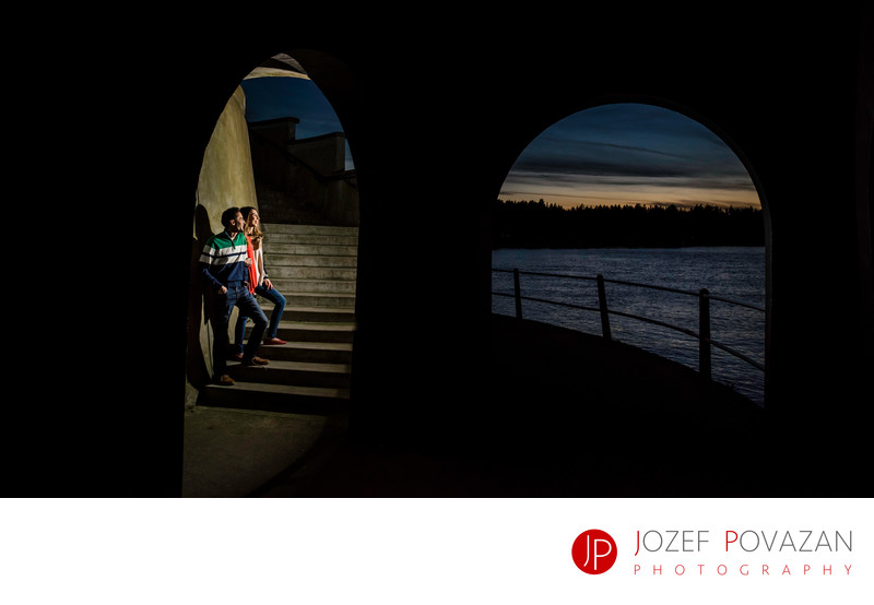Stanley park cool night lighthouse engagement pictures