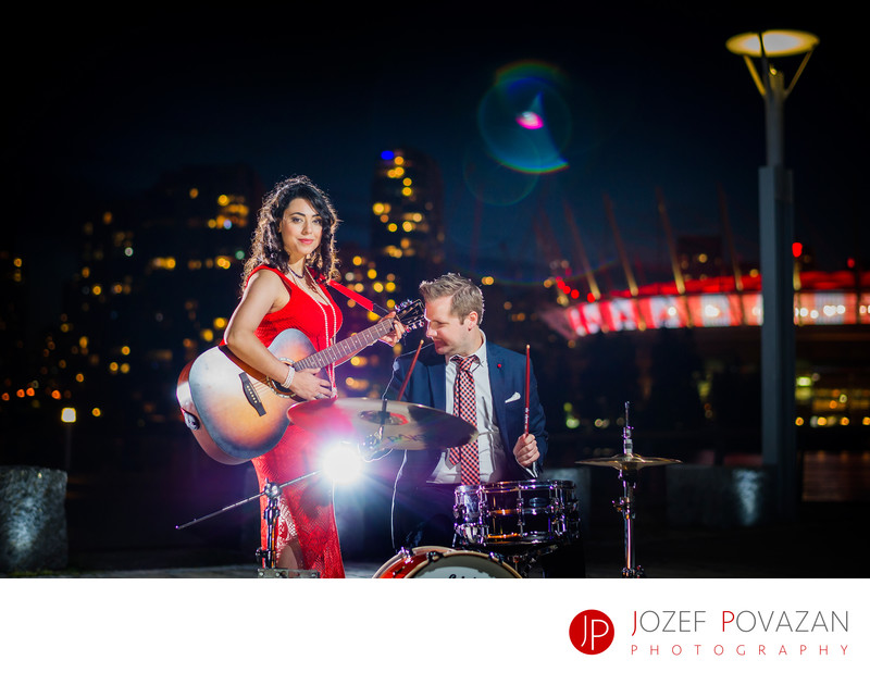 Science World Engagement portrait with drums and guitar