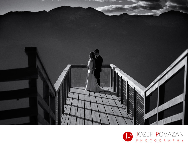 Sea To Sky Gondola Wedding pictures sunset at platform