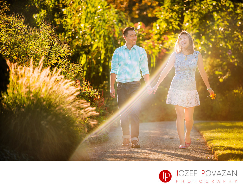 Romantic Fleetwood Garden engagement pictures at sunset