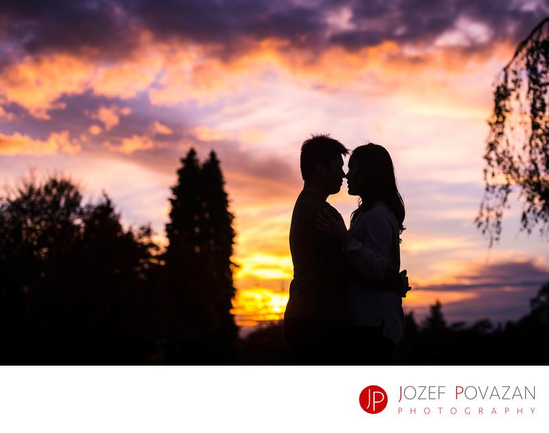Queen Elizabeth Park Sunset Fall Engagement portraits