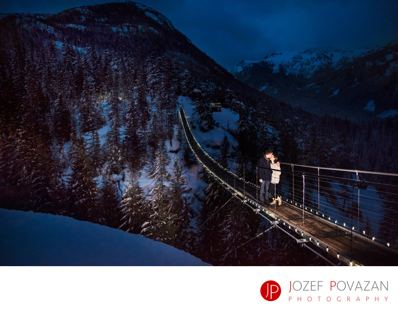 Sea to Sky gondola suspension bridge night engagement