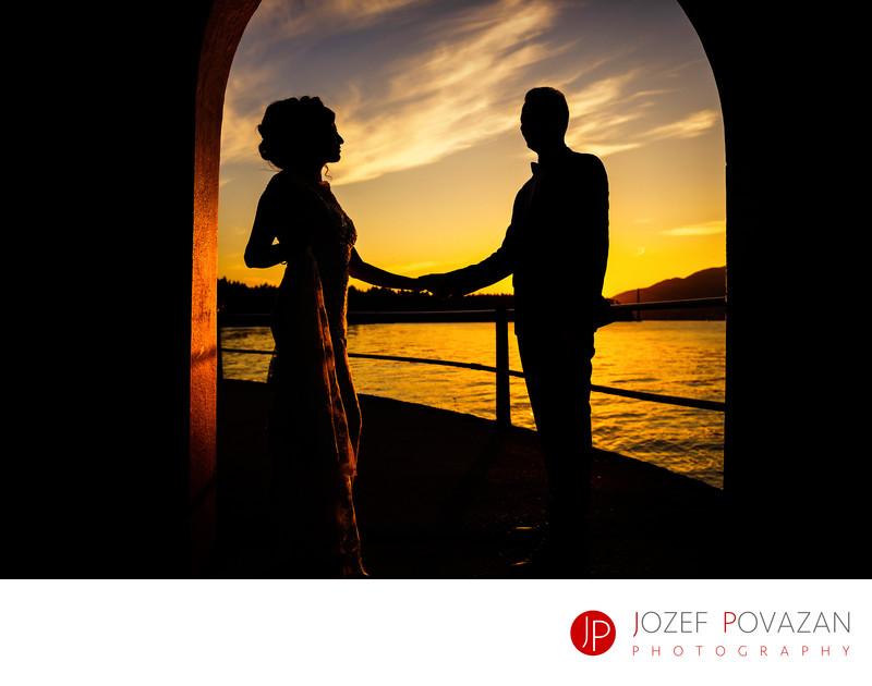 Vancouver Stanley Park Wedding portraits Sunset romance