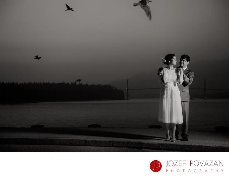 Stanley Park Lions gate bridge dusk wedding portrait