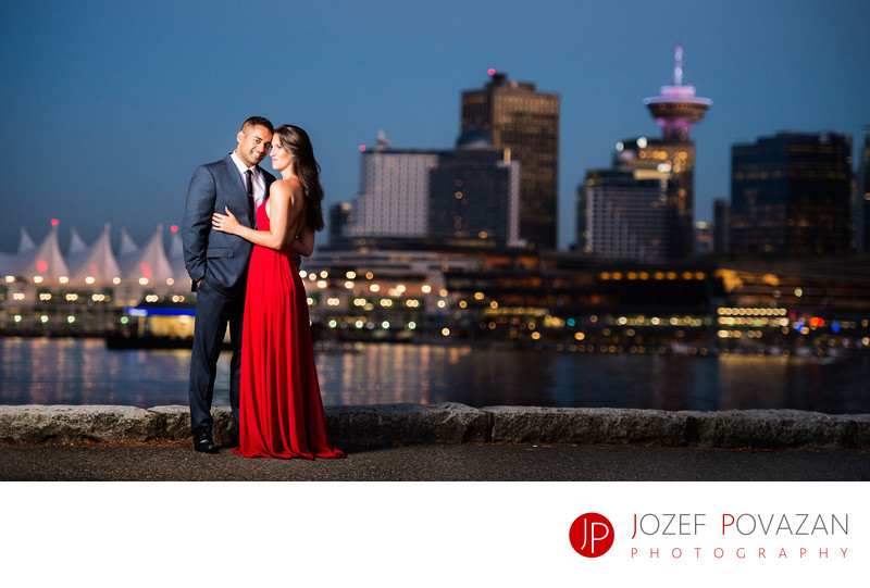 Red dress Stanley park Engagement Povazan Photography