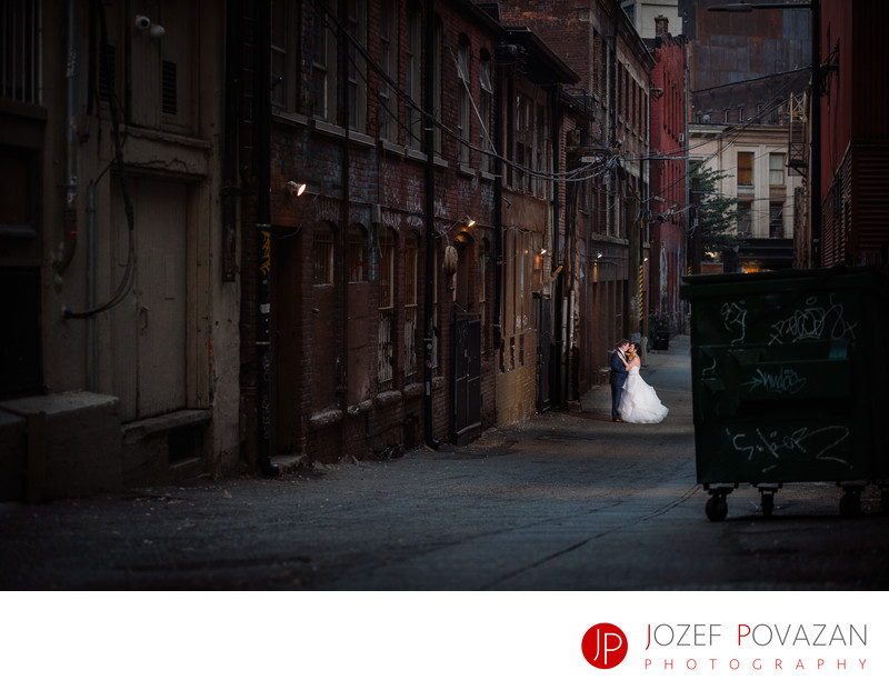 Moody Downtown Back-lane Wedding Portraits photography
