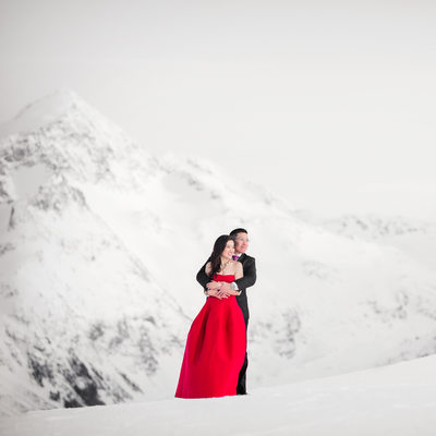 Whistler Blackcomb Mountain Top Winter Engagement pics