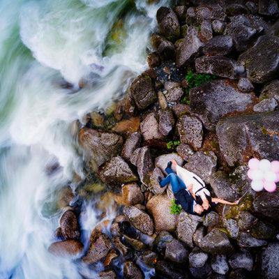 Shannon Falls Drone Engagement Vancouver Photographers