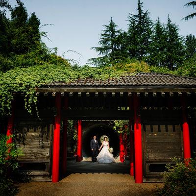 UBC Botanical Garden Wedding Chinese Gate bride groom