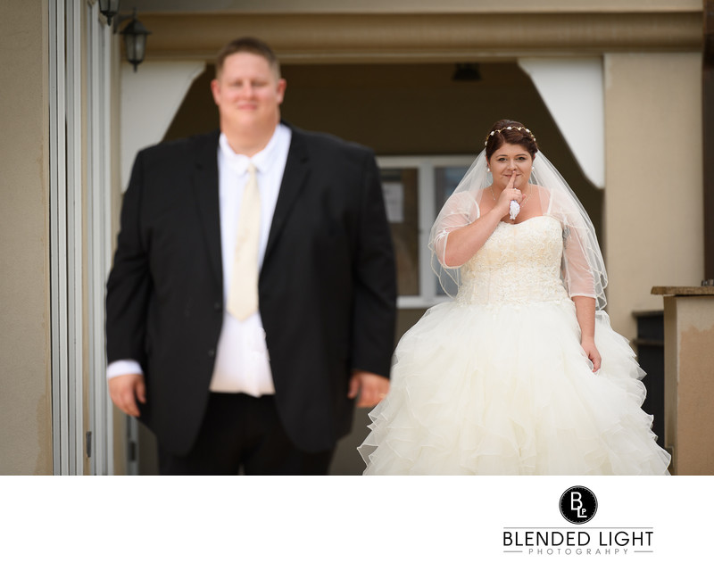 Wedding photography bride and groom first look raleigh
