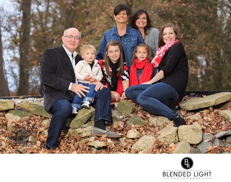 greenville Fall stone wall family photography