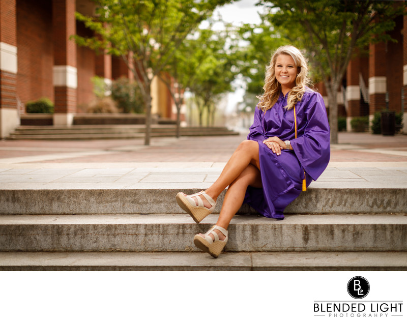 Senior Picture at library steps at ECU
