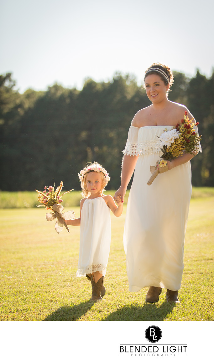 Daughter walking mom down aisle wedding day photography
