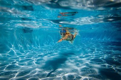 Freestyle swim for senior swim team member