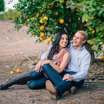 Orange Orchard Engagement Session Photography