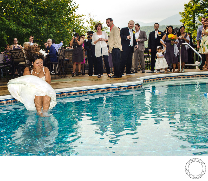 bride in a swimming pool