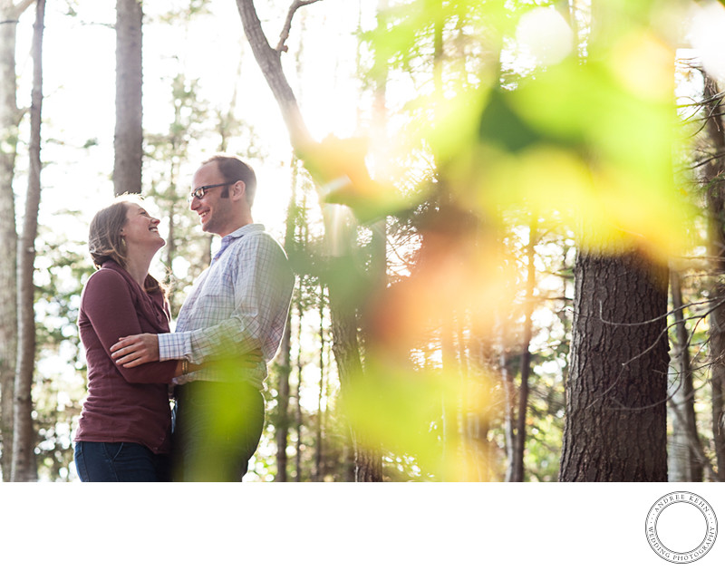Backlit engagement photos