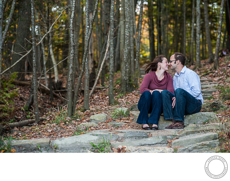 Engaged couple at Wolfe Neck State Park