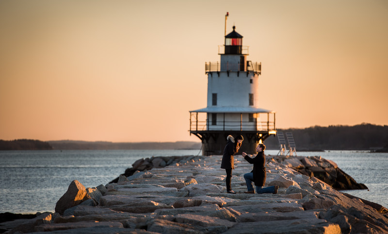 Real Engagements - Spring Point Light, Maine
