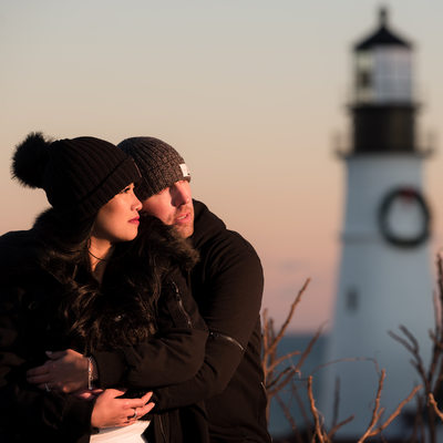 Winter Engagement Session at Fort Williams Park