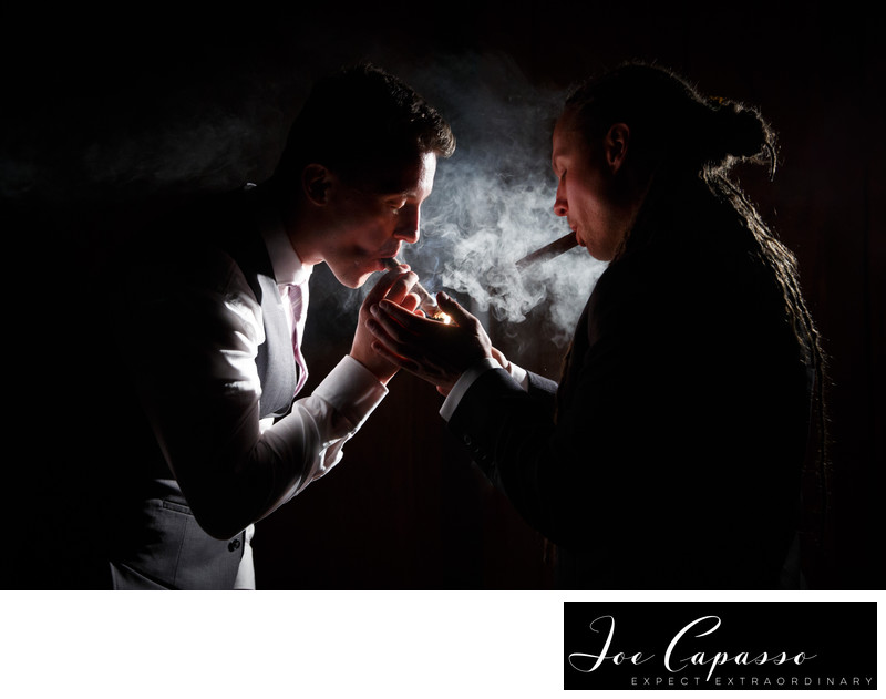 florida-wedding-groomsmen-smoking-cigars