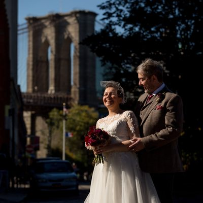 Bride and Groom with Brooklyn Bridge
