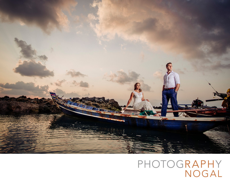 Bride and Groom on Long Tail Boat in Thailand