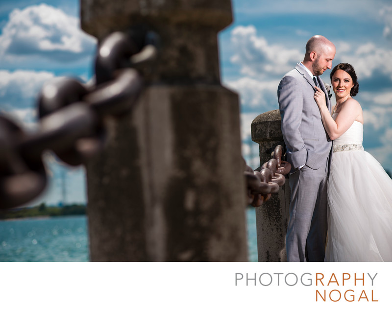 Bride and Groom on the Waterfront Trail in Burlington