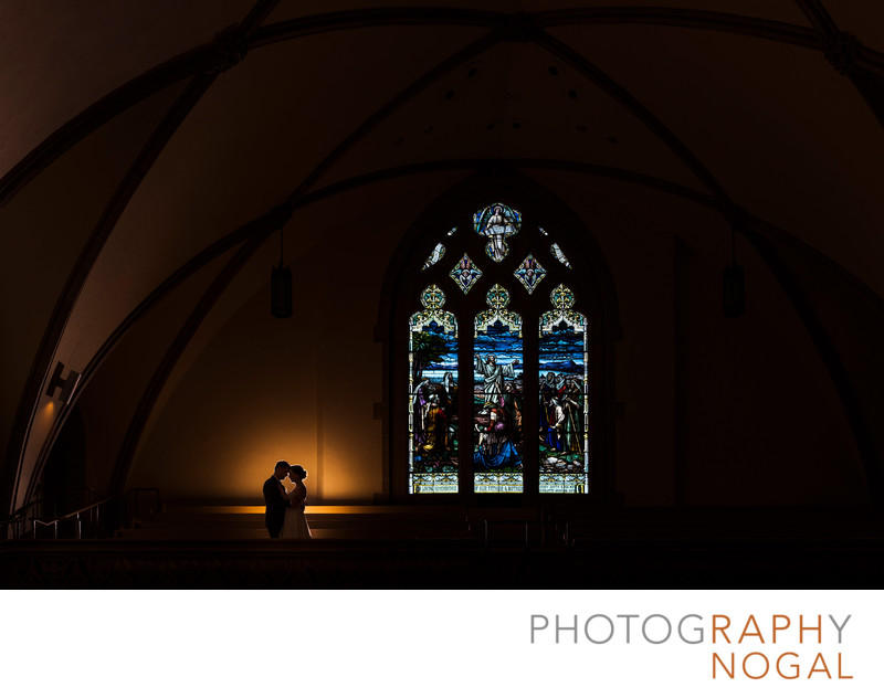 Bride and Groom at Rosedale United Church on Wedding