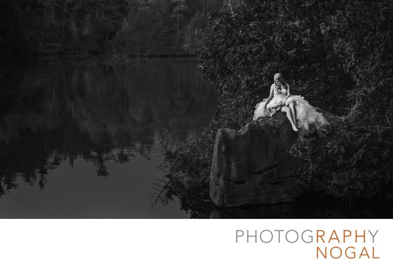 Bride on Rock at Rockwood Conservation Area