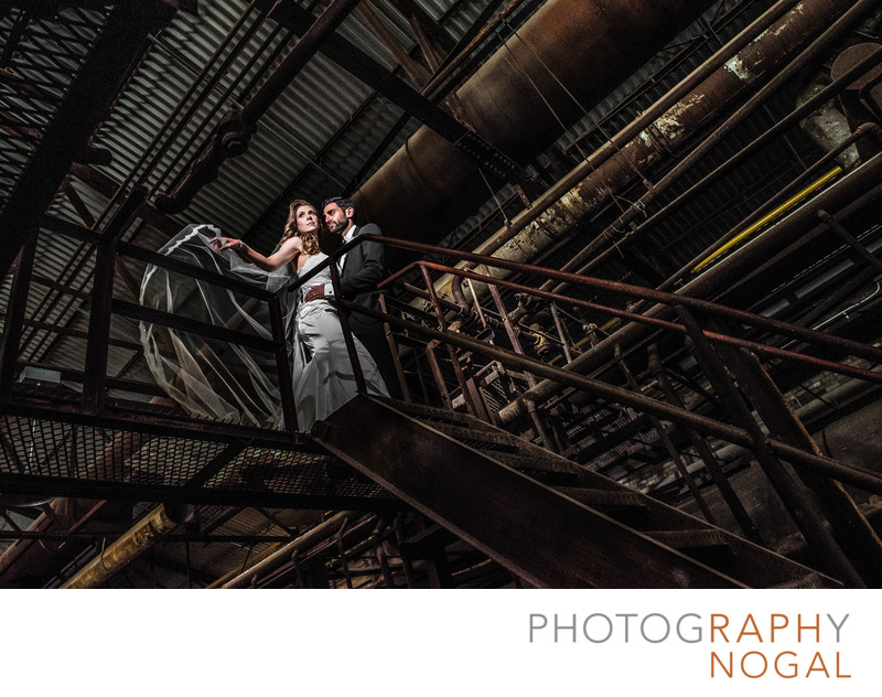 Couple on Steel Walkway at Evergreen Brickworks