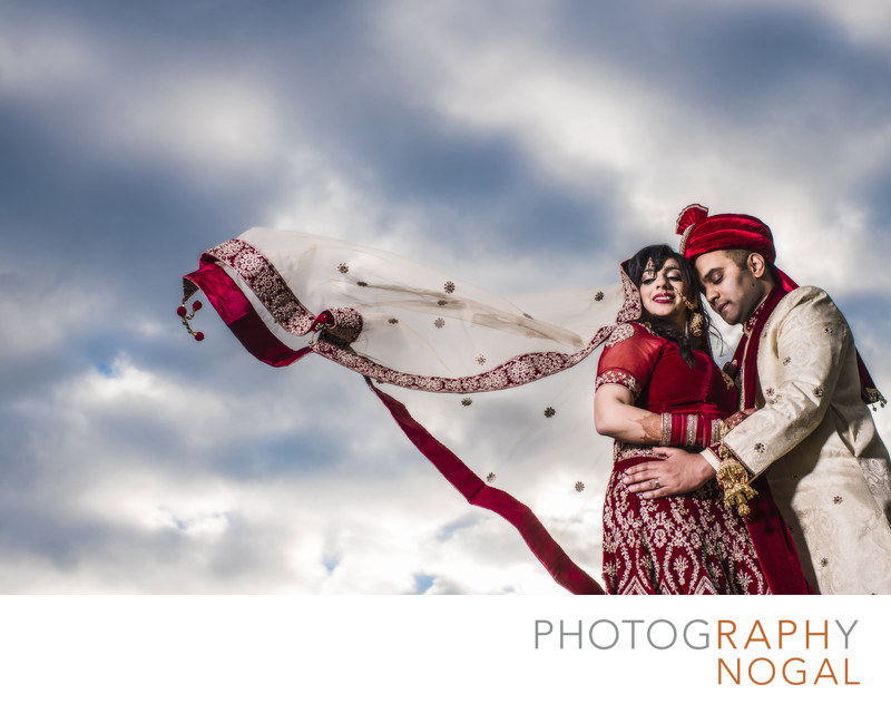 Indian Bride and Groom Embrace at Riverwood Conservancy