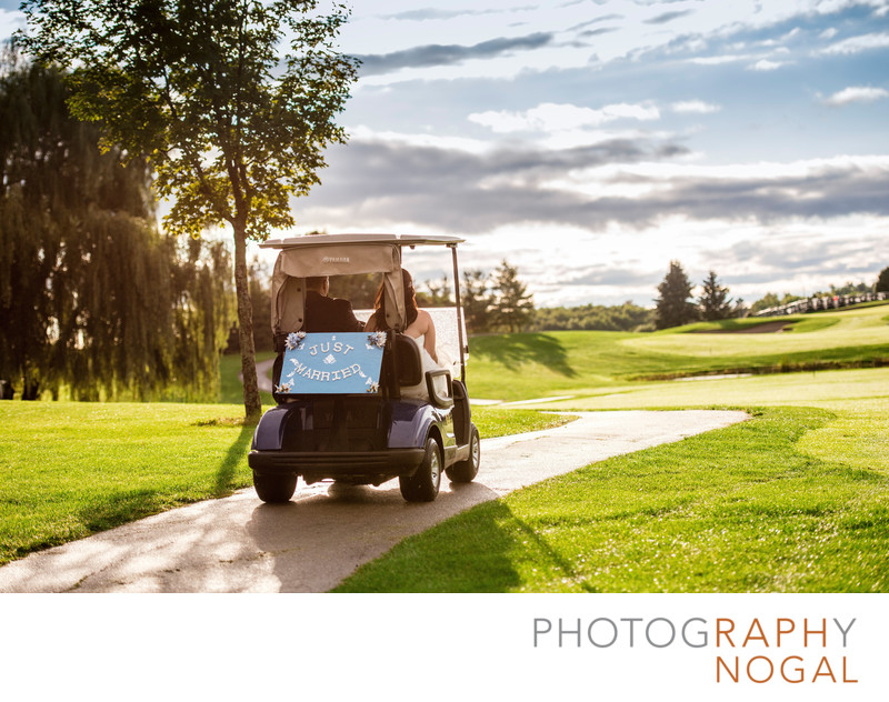 Wedding Couple in Golf Cart at Nobleton Lakes Golf Club