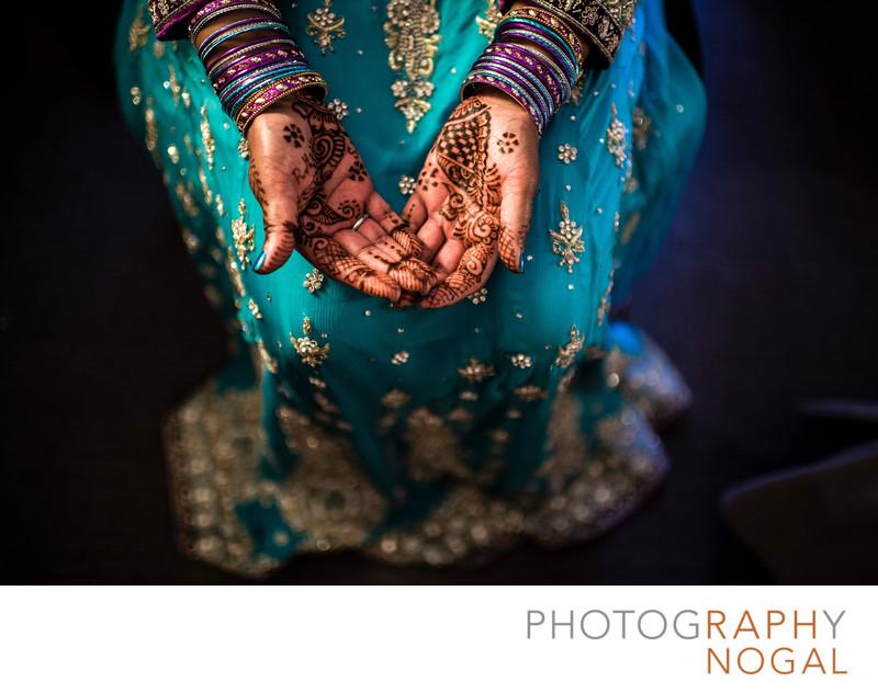 Bride Showing Off Mehndi Henna Tattoo