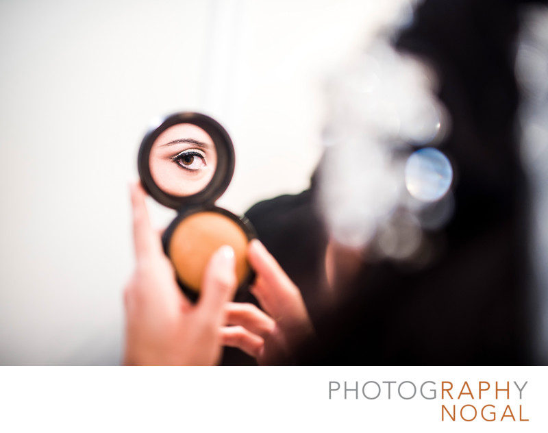 Bride's Eye Makeup Detail in Mirror